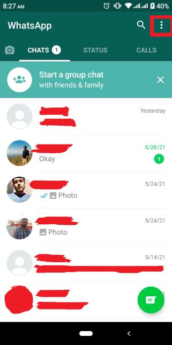 Whatsapp Web three dot menu icon